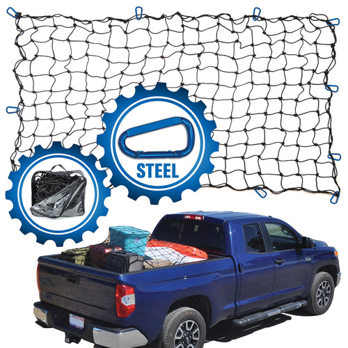 4'x6' Bungee Cargo Net for Trucks/Trailers - Blue Carabiners