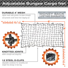 Load image into Gallery viewer, 4'x6' Bungee Cargo Net for Trucks/Trailers - Black Carabiners