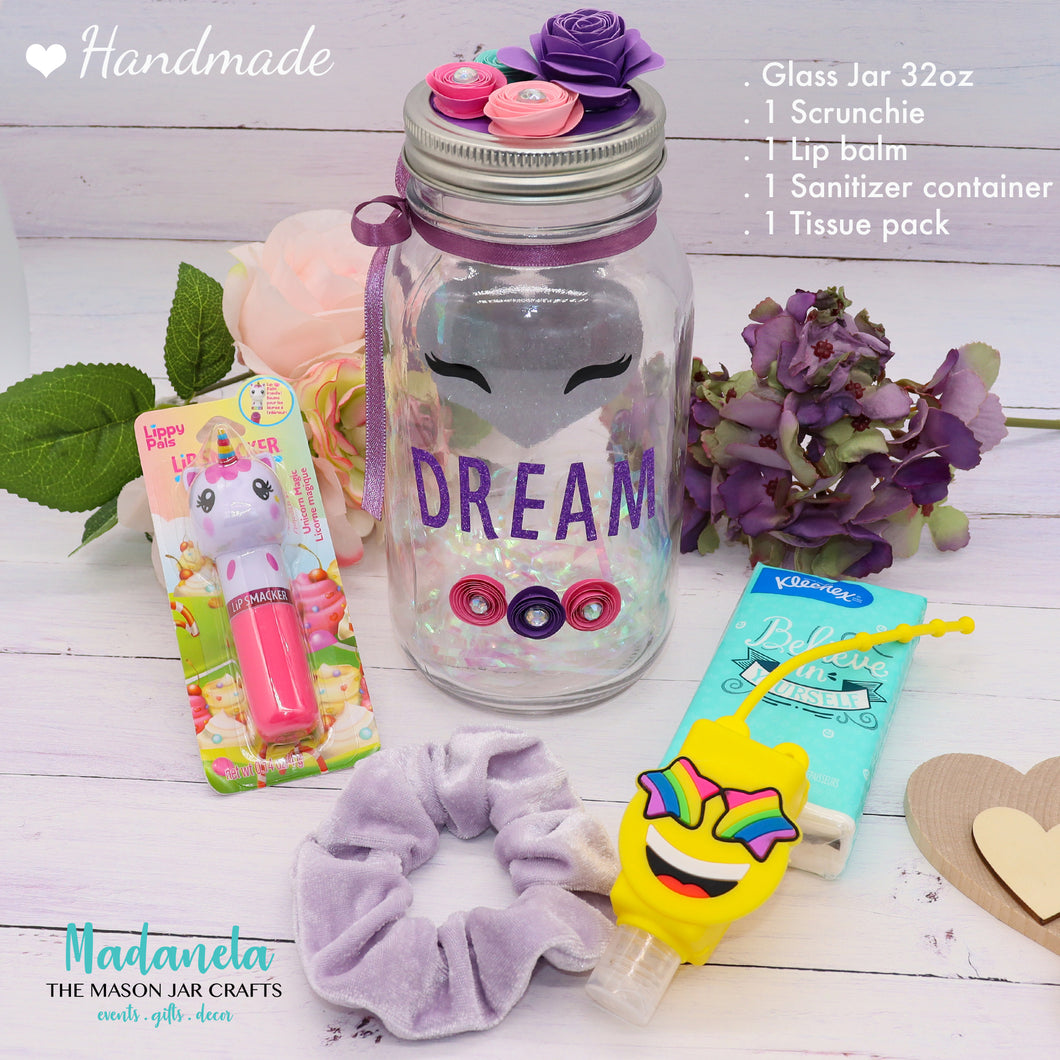 Unicorn Essential Gift Set For Back To School, Self Care Set, Quart Size Ball Mason Jar