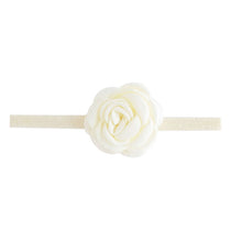Load image into Gallery viewer, Headband With Fabric Rose And Stretch Glitter Band Ivory