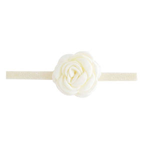 Headband With Fabric Rose And Stretch Glitter Band Ivory