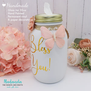 Mason Jar Tissue Holder, Bless You Jar With All Natural Soy Candle, Custom Tissue Dispenser