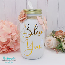 Load image into Gallery viewer, Mason Jar Tissue Holder, Bless You Jar With All Natural Soy Candle, Custom Tissue Dispenser