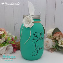 Load image into Gallery viewer, Mason Jar Tissue holder, Bless you Jar Personalize