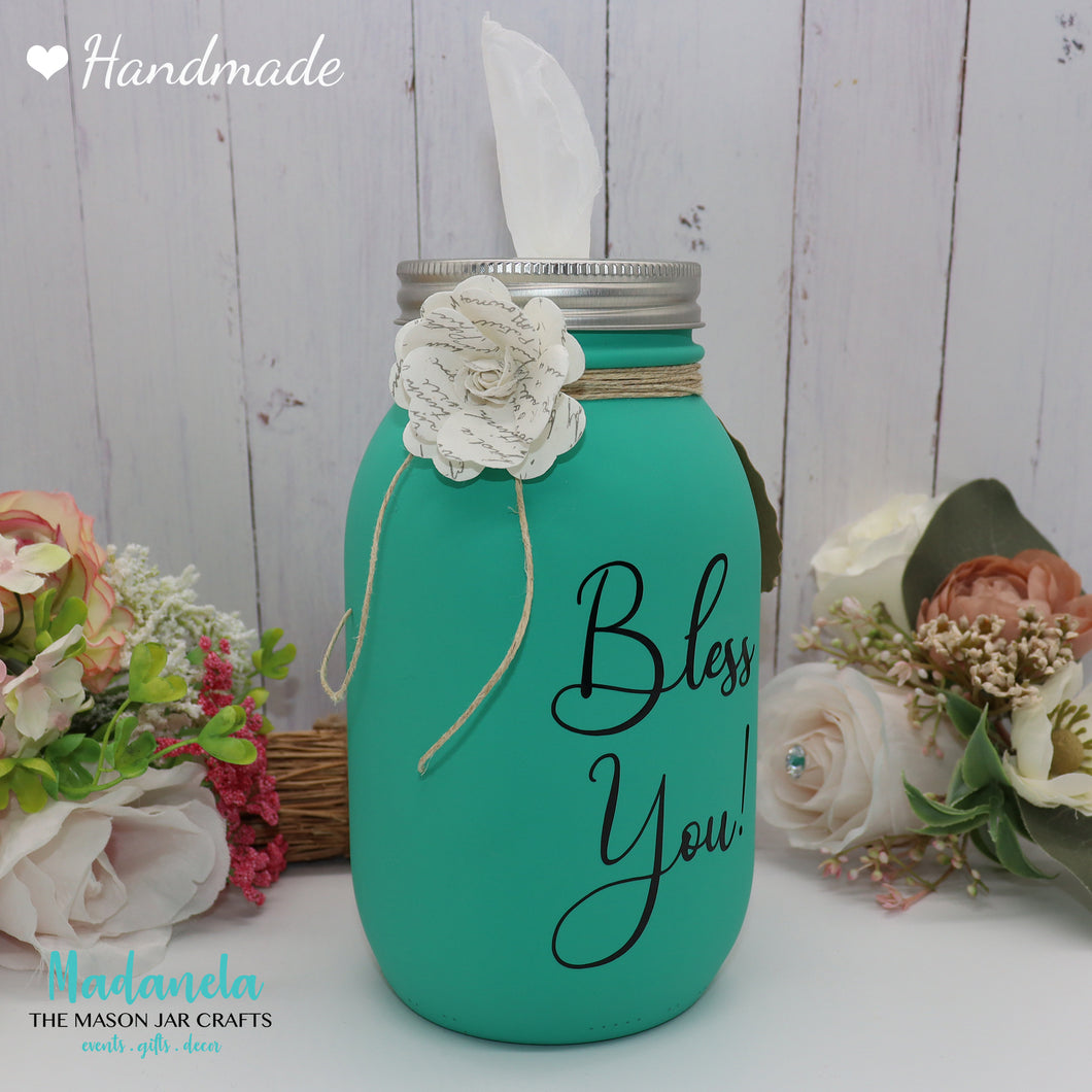 Mason Jar Tissue holder, Bless you Jar Personalize