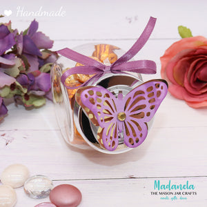 Jars with lid - Butterfly Party Favors, Weddings Favors, Sweet Sixteen, Quinceanera, Baby Shower