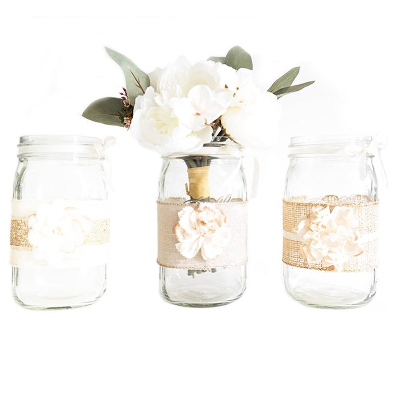 Mason Jar set - Decorated with ribbon, paper flowers, hand made. For weddings, baby shower, quinceanera