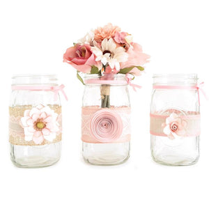 Mason Jar set - Decorated with ribbon, paper flowers, Blush Pink - hand made. For weddings, baby shower, quinceanera