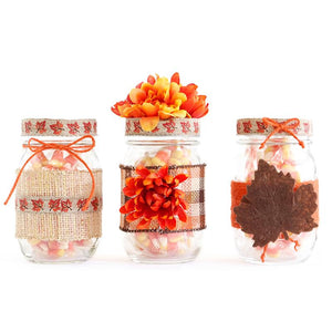 Mason Jar Set Of 3- Decorated Jar With Flowers Center Piece, Weddings, Home Decor