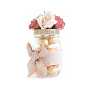 Mason Jar Decorated With Flowers, Ribbon - Holiday Gift, Souvenir, Weddings