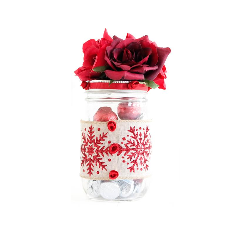 MASON JAR DECORATED WITH FLOWERS AND RIBBON - WEDDINGS, BABY SHOWER, HOLIDAYS GIFT