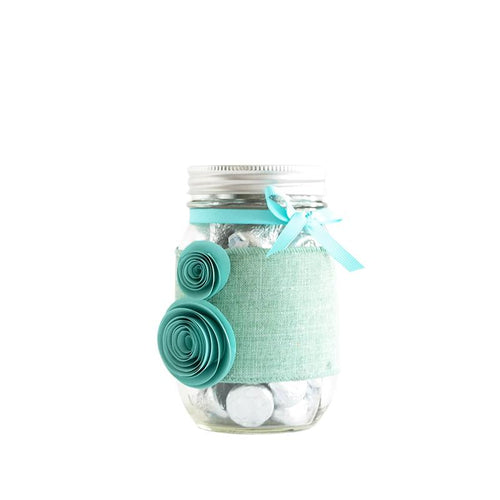 Mason Jar Decorated With Flowers, Ribbon - Holiday Gift, Souvenir