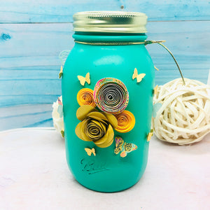 Mason Jar 32-Ounce, Money Jar, Coin Jar, Piggy Bank, Handmade Fun Gift, Painted Ball Jar