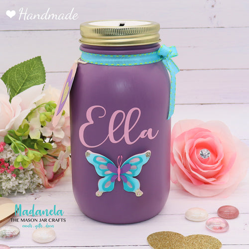 Adult Money Jar, Girls Piggy Bank, Coin Jar, Personalized Name