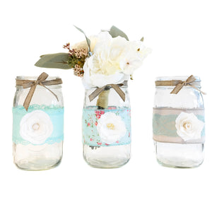 Mason Jar Set - Decorated Jars - Center Pieces For Weddings, Baby Shower, Sweet Sixteen