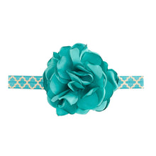 Load image into Gallery viewer, Headband With Fabric Flower And Stretch Band Dark Teal