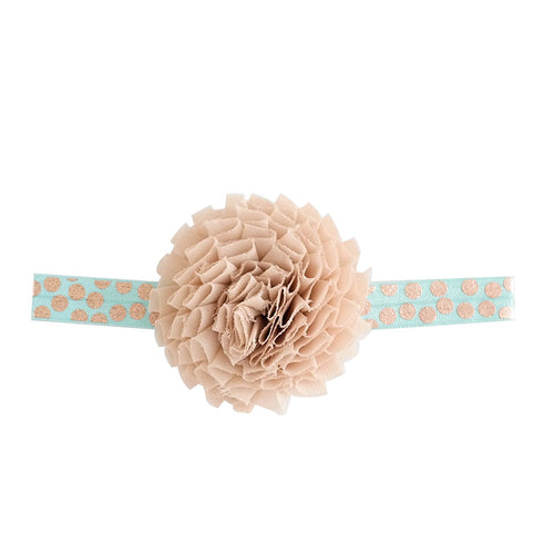 Beige/Teal Headband With Fabric Flower And Stretch Band Dark Teal