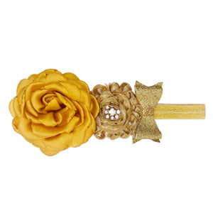 Vintage Headband With Fabric Flower And Stretch Band, Gold