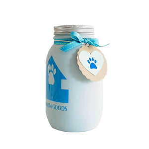 Decorated Mason Jar For Pet's Treats Dogs/Cats Lt. Blue