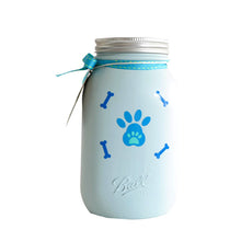 Load image into Gallery viewer, Decorated Mason Jar For Pet's Treats Dogs/Cats Lt. Blue