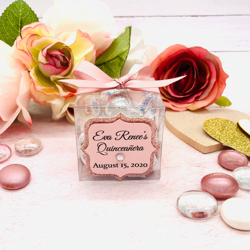 Clear Party Favor Box For Baby Shower, Weddings, Quinceanera, Sweet Sixteen Souvenir 12 Boxes