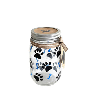Decorated Mason Jar For Pet's Treats Dogs/Cats Paw-Bones