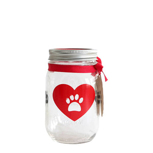 Decorated Mason Jar For Pet's Treats Dogs/Cats Paw-Heart