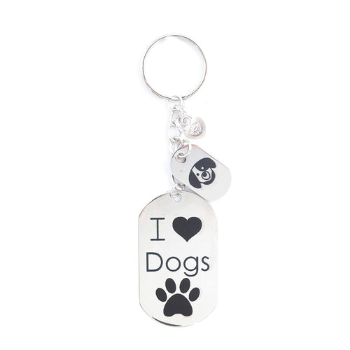 Stainless Steel Dog Key Chain Printed Personalized