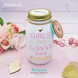 "Girls Just Wanna Have Funds Vinyl Sticker 6"" Black And Gold"