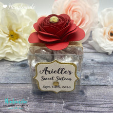 Load image into Gallery viewer, Personalized Rose Flower Clear Party Favor Box For Weddings, Quinceanera, Sweet Sixteen Souvenir 12 Boxes