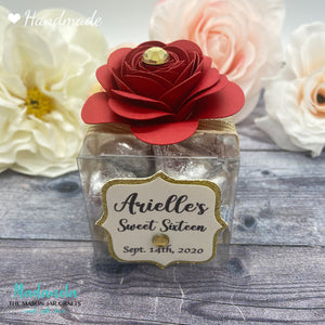 Personalized Rose Flower Clear Party Favor Box For Weddings, Quinceanera, Sweet Sixteen Souvenir 12 Boxes