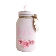 Load image into Gallery viewer, Mason Jar Decorated Distress Painted Tissue Holder Handmade - Pink
