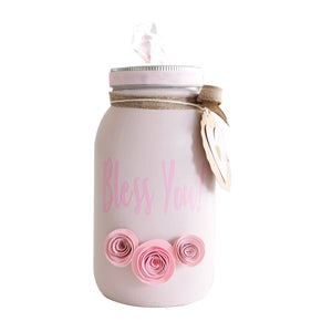 Mason Jar Decorated Distress Painted Tissue Holder Handmade - Pink