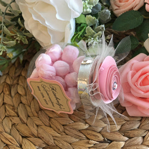 5oz. glass jar with lids, decorated with paper flower, party favor