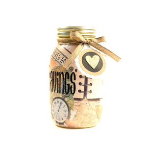 Decoupage Map Mason Jar Piggy Bank