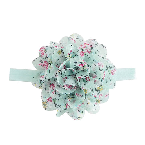 Headband stretch with fabric flower teal and floral pattern
