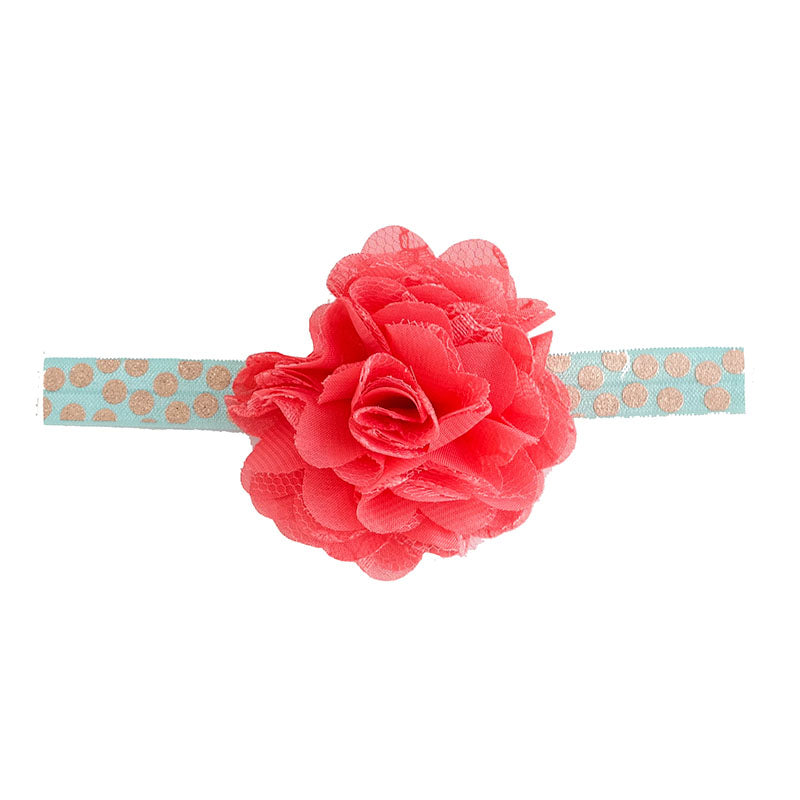 Headband With Fabric Flower And Stretch Band - Coral/Teal