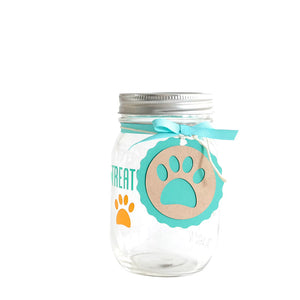 Decorated Mason Jar For Pet's Treats Dogs/Cats Treats