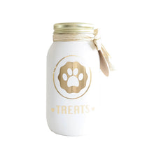 Load image into Gallery viewer, Decorated Mason Jar for Pet's Treats Dogs/Cats - (36oz) white-gold