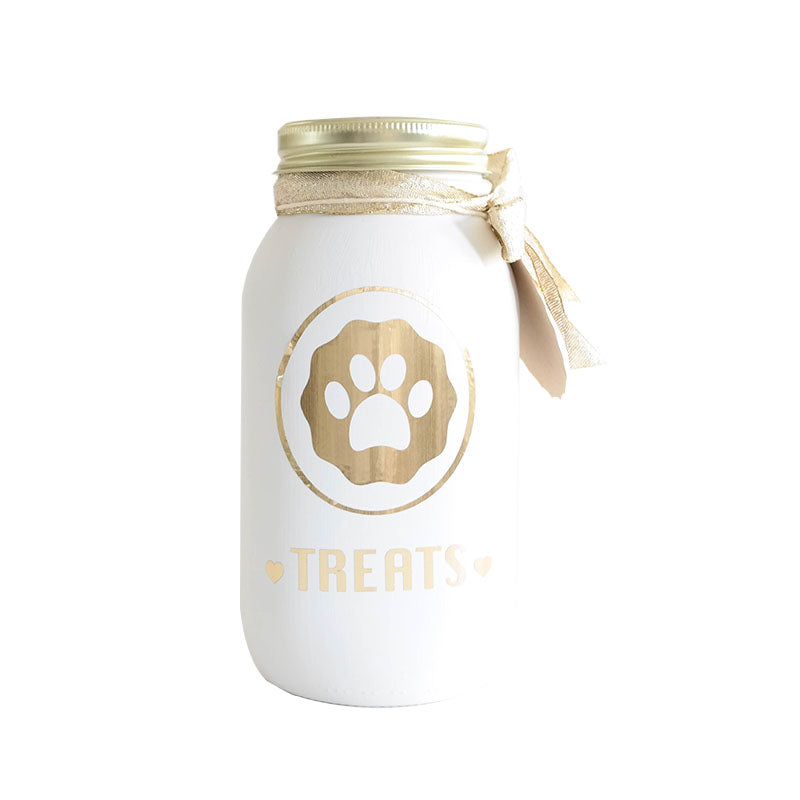 Decorated Mason Jar for Pet's Treats Dogs/Cats - (36oz) white-gold