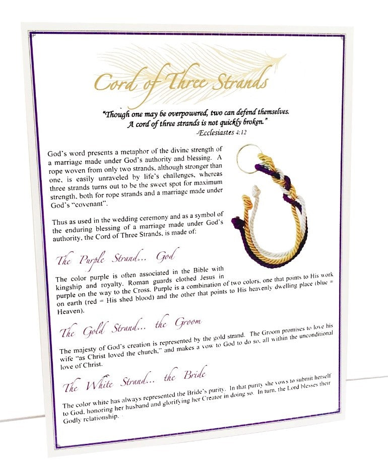 Gold Embossed Wedding Ceremony Cards For Cord Of Three Strands Wedding Knot Pack Of 25