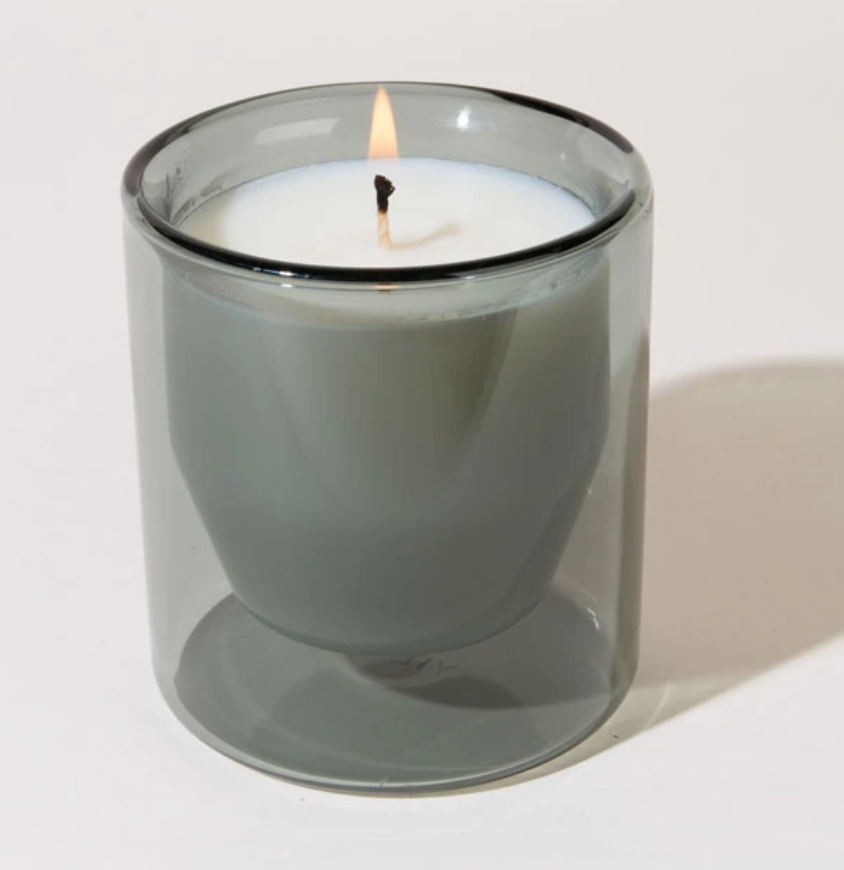 Coquina Candle + 6oz Reusable Double-Wall Glass