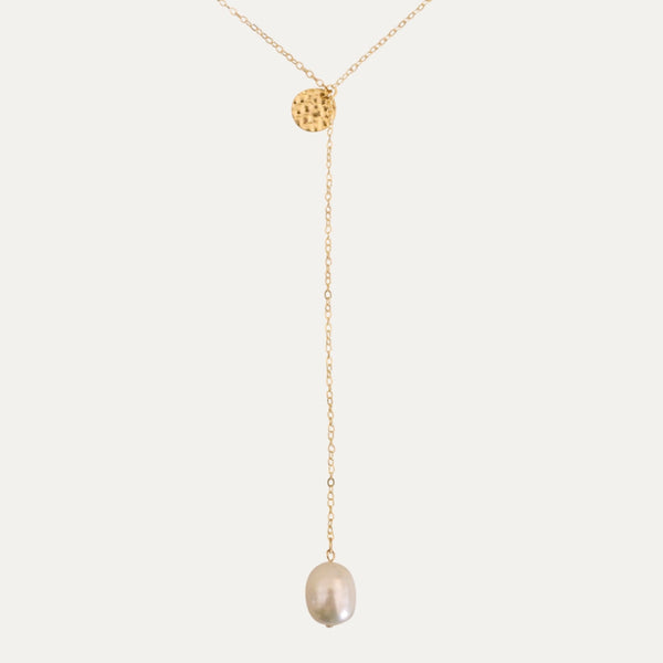 Gold Pearl Drop Necklace | Monform Jewellery