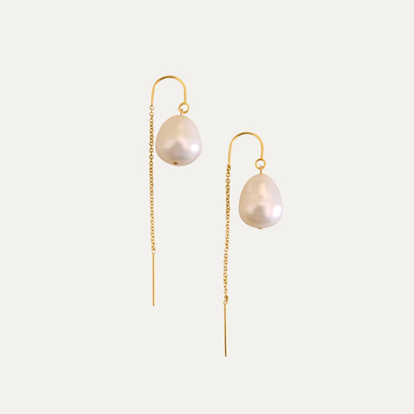Gold Pearl Drop Earring | Monform Jewellery
