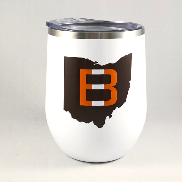 Cleveland Browns Wine Tumbler/Browns Wine Glass/Cleveland Sports/Browns Fan/Cleveland Gift/CLE