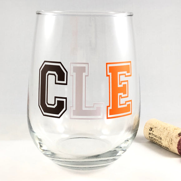 Cleveland Browns CLE Wine Glass