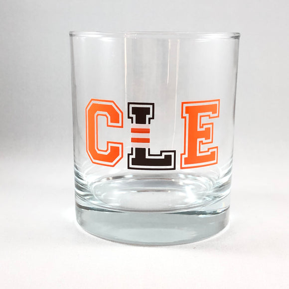 CLE L Striped Cleveland Browns Whiskey Glass
