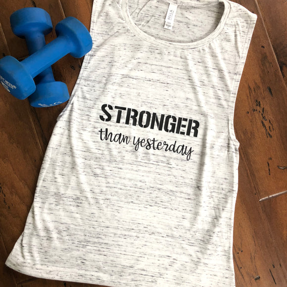 Stronger Than Yesterday White Marble Muscle Tank Top