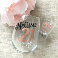 21st Birthday Personalized Wine Glass and Shot Glass Set