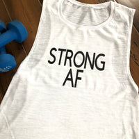 Strong AF White Muscle Tank